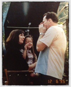 On set with Anjelica Huston and Michael Rooker